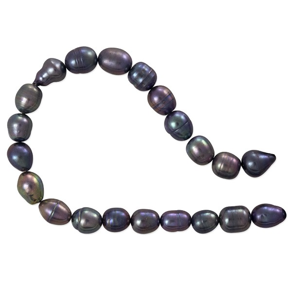 "Freshwater Rice Pearl Peacock Grey 6-7mm (16"" Strand)"