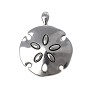 Sand Dollar Pendant 54x42mm Pewter Antique Silver Plated (1-Pc)