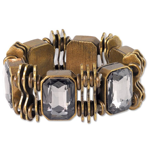 "Black Diamond Faceted Glass Stretch Bracelet 7"" Antique Brass Zinc Alloy (1-Pc)"