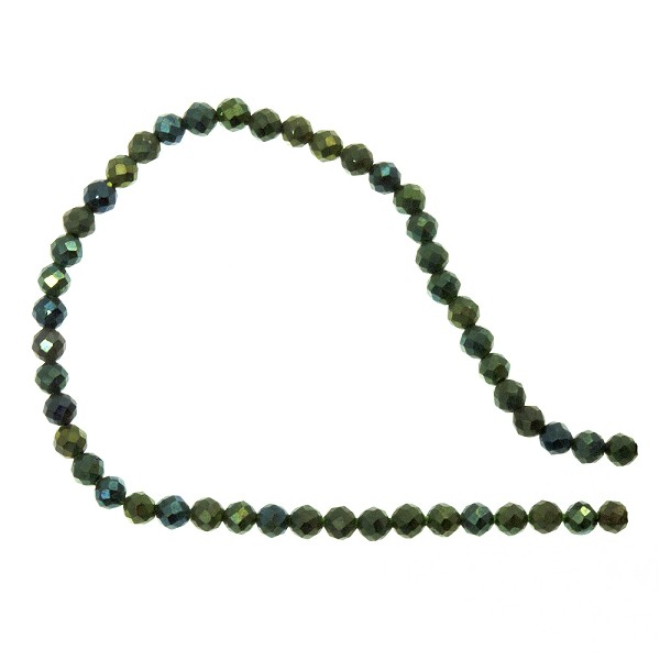 Green Coated Spinel Faceted Beads 2mm (13 Inch Strand)