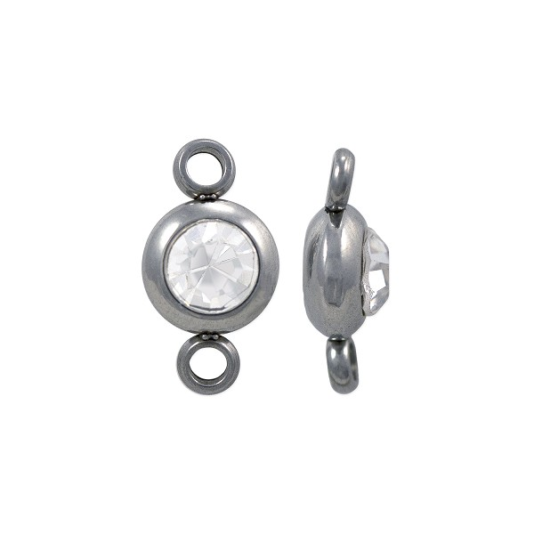 Connector with 4mm CZ Stone 12x6mm Surgical Stainless Steel (1-Pc)