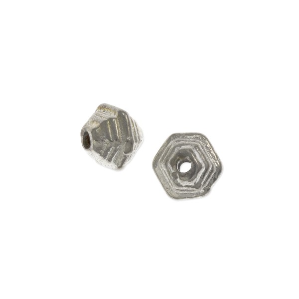 Step Bicone Bead 10mm Nickel Silver (3-Pcs)