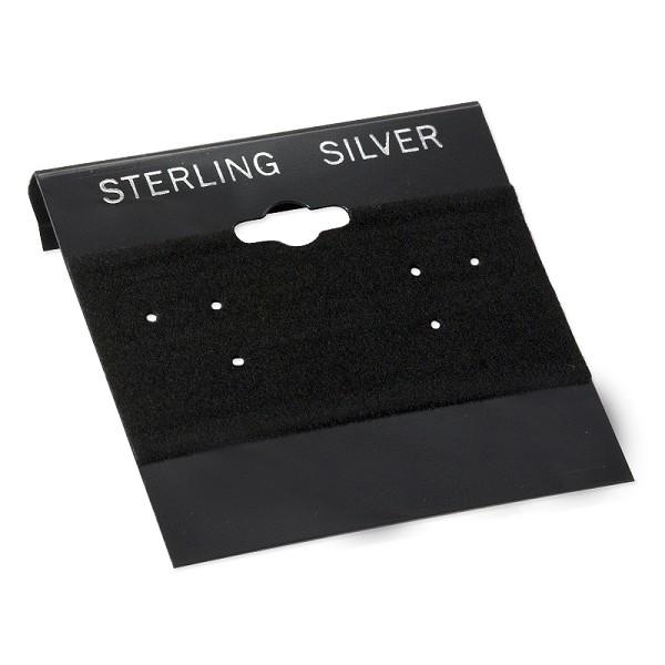 100 black earring cards wtih sterling silver imprint velvet earring cards earring card holders. Black Bedroom Furniture Sets. Home Design Ideas