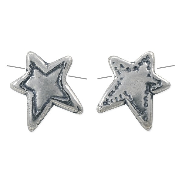 Star Bead 14x13.5mm Sterling Silver (1-Pc)