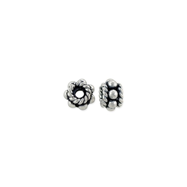 Bead Bali Style Flower with Rope Edge 6x3.5mm Sterling Silver (1-Pc)