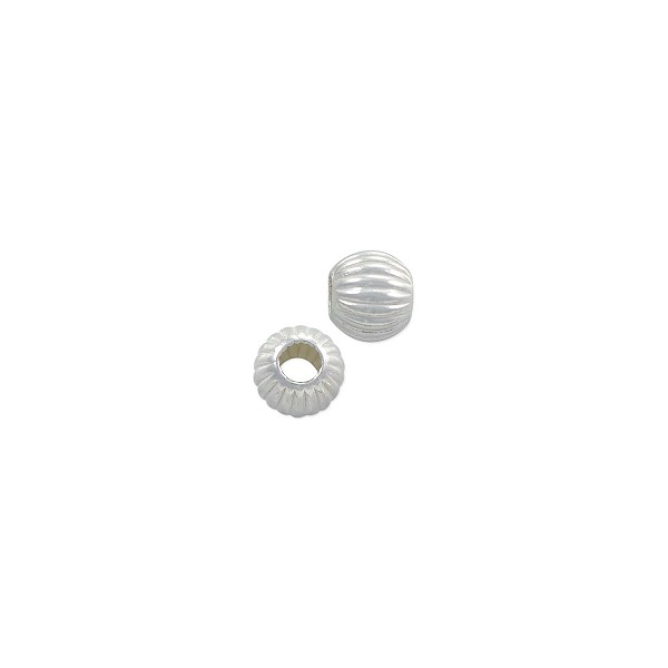 Round Bead Corrugated 5mm Sterling Silver (1-Pc)