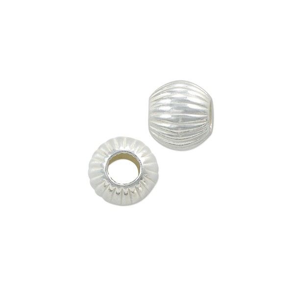 Round Bead Corrugated 6mm Sterling Silver (1-Pc)