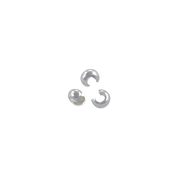Crimp Bead Cover 3mm Sterling Silver (4-Pcs)