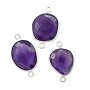 Round Faceted Amethyst Connector Sterling Silver 11mm (1-Pc)
