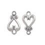 Heart Connector 16x9mm Sterling Silver (1-Pc)