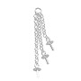 Connector - 3 Strand Chain with 3mm Cup & Peg 25mm Sterling Silver (1-Pc)