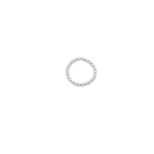 7mm Sterling Silver Twisted Wire Round Open Jump Ring (2-Pcs)