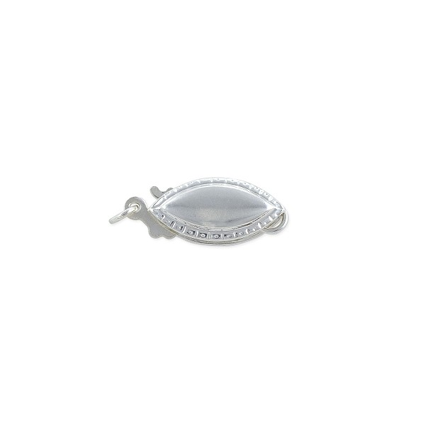 Smooth Pearl Clasp 13x5mm Sterling Silver (1-Pc)
