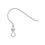 22mm Sterling Silver Ear Wire with 3mm Bead & Spring (1-Pc)