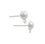 Half Ball Post Earring with Loop 6mm Sterling Silver (1-Pc)