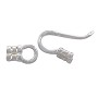 2 Strand Hook and Eye Clasp 20x4mm Sterling Silver (1-Pc)