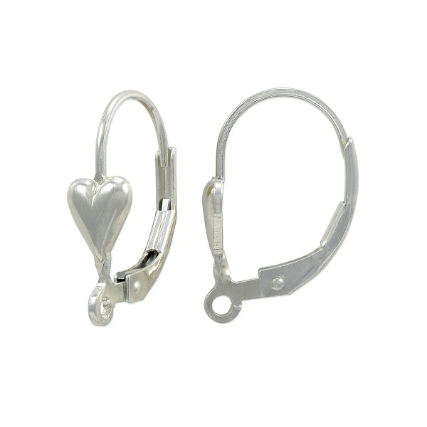 Lever Back Earring with Heart 18mm Sterling Silver (1-Pc)