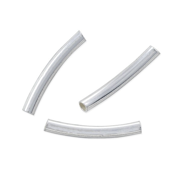 Curved Tube 25x2mm Sterling Silver (1-Pc)