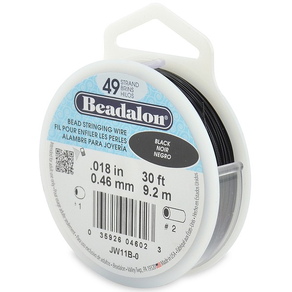 ".018"" Black 49 Strand Beadalon Wire (30 Feet)"