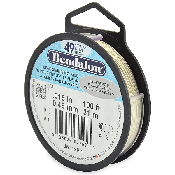 ".018"" Silver Plated 49 Strand Beadalon Wire (100 Feet)"