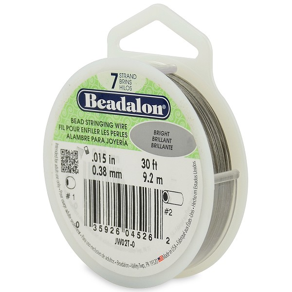 ".015"" Bright Silver 7 Strand Beadalon Wire (30 Feet)"