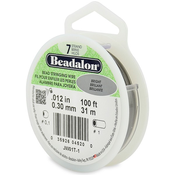 ".012"" Bright Silver 7 Strand Beadalon Wire (100 Feet)"