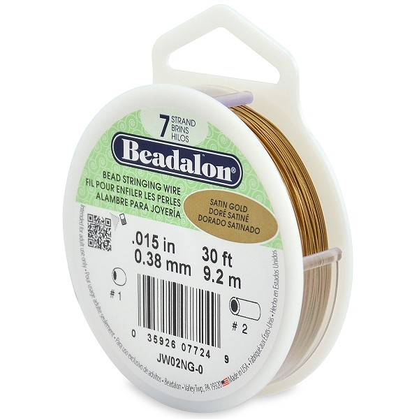 ".015"" Satin Gold 7 Strand Beadalon Wire (30 Feet)"