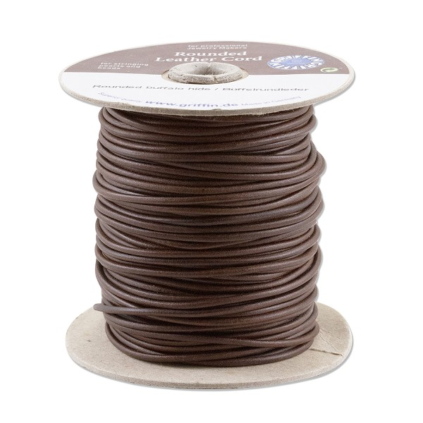 Griffin 2mm Brown Leather Cord (Priced Per Yard)