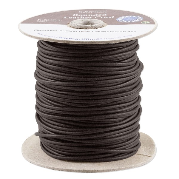 Griffin 2mm Black Leather Cord (Priced Per Yard)