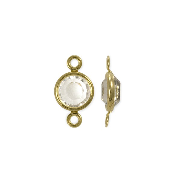 Swarovski Round Two-Loop Channel 6mm Crystal Gold Plated (1-Pc)