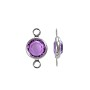 Swarovski Round Two-Loop Channel 6mm Amethyst Rhodium Plated (1-Pc)