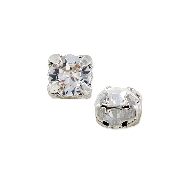 Swarovski 6mm Crystal Rhodium Plated Round 2-Hole Setting (1-Pc)