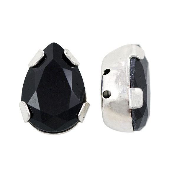 Swarovski Crystal Pear Shape 2-Hole Setting 14x10mm Jet Silver Plated (1-Pc)