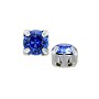 Swarovski Crystal 6mm Sapphire Rhodium Plated Round 2-Hole Setting (1-Pc)