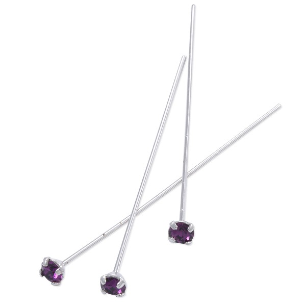 Swarovski 1-½ Inch Rhodium Plated Head Pin with 3mm Amethyst Chaton (2-Pcs)