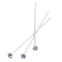 Swarovski 1-½ Inch Rhodium Plated Head Pin with 3mm Aquamarine Chaton (2-Pcs)