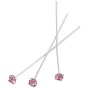 Swarovski 1-½ Inch Rhodium Plated Head Pin with 3mm Light Rose Chaton (2-Pcs)