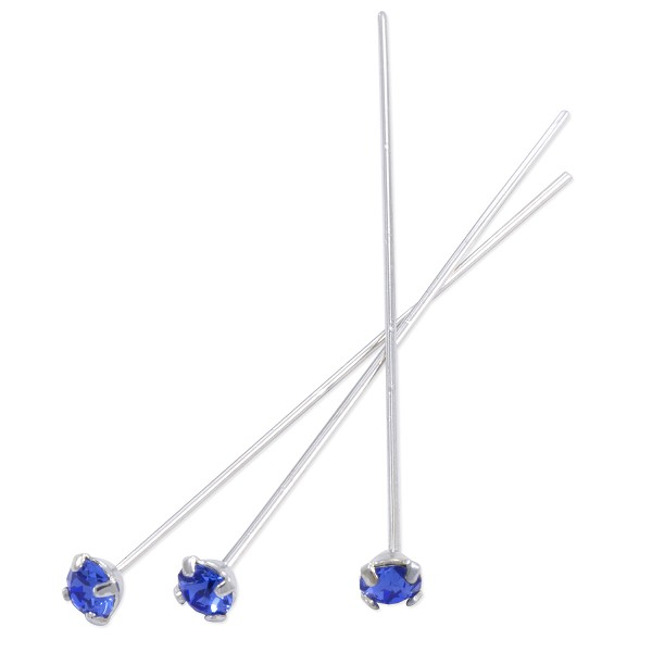Swarovski 1-½ Inch Rhodium Plated Head Pin with 3mm Sapphire Chaton (2-Pcs)