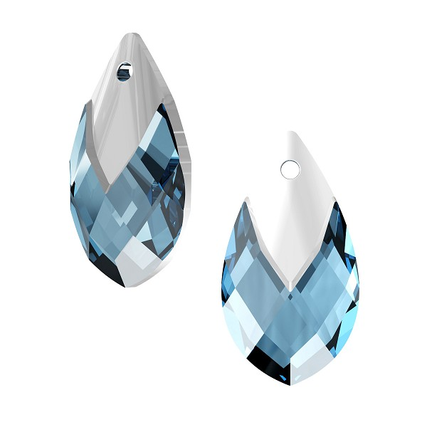 Swarovski 6565 18mm Aquamarine Metallic Cap Pear Shape Pendant (1-Pc)