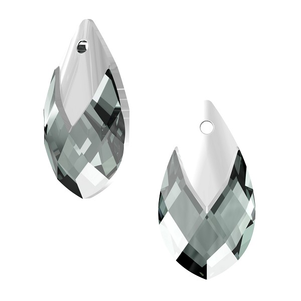 Swarovski 6565 18mm Black Diamond Metallic Cap Pear Shape Pendant (1-Pc)