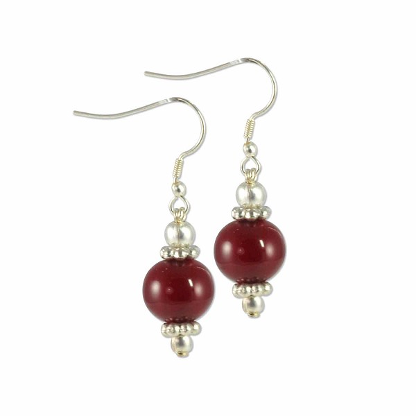 Tibetan Earrings 38x11mm Red Resin/Brass (1-Pair)
