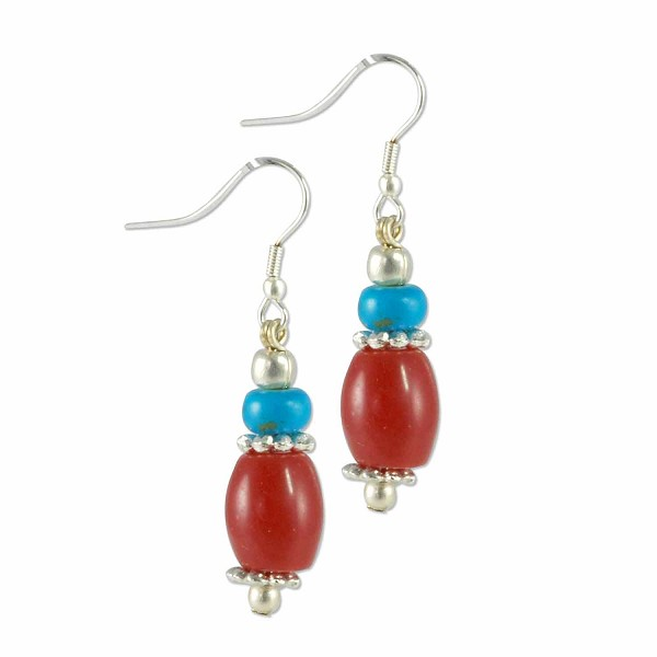 Tibetan Earrings 45x10mm Imitation Turquoise/Imitation Coral/Brass/Silver Plated Ear Wire (1-Pair)
