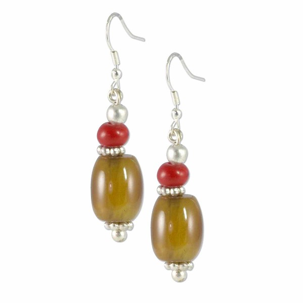 Tibetan Earrings 45x10mm Imitation Coral/Dark Amber Resin/Silver Plated Ear Wire (1-Pair)