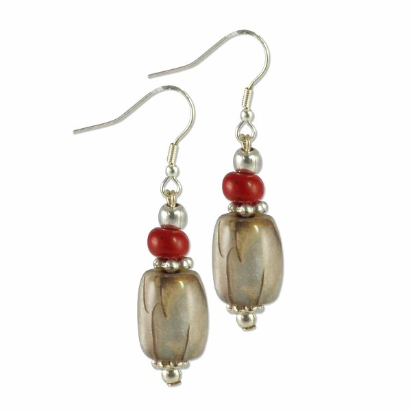 Tibetan Earrings 45x10mm Imitation Coral/Grey Resin/Silver Plated Ear Wire (1-Pair)