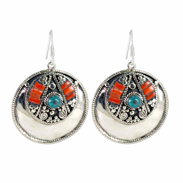 Tibetan Earrings 60x40mm Turquoise/Coral/Brass with Silver Plated Ear Wires (1-Pair)
