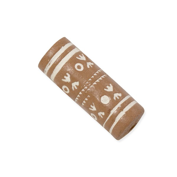 Terra Cotta Bead 10x24mm Tube Tan/White (3-Pcs)