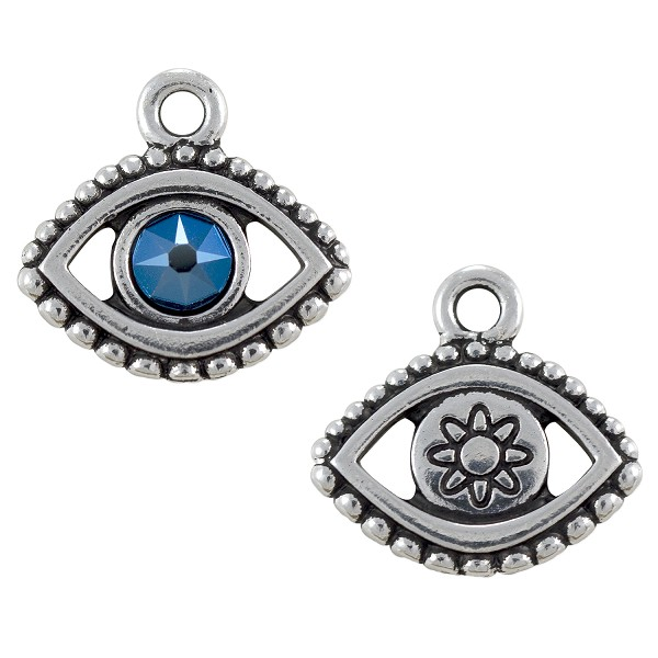 TierraCast Evil Eye Charm with Swarovski Crystal 15x16mm Pewter Antique Silver Plated (1-Pc)