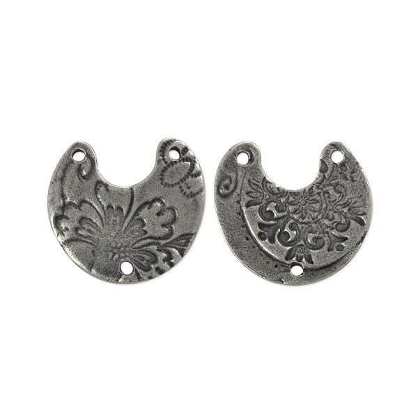 TierraCast Crescent Flora Link Antique Pewter Plated 20mm (1-Pc)