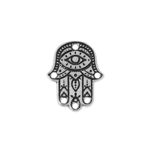 TierraCast Hamsa Link Pewter Antique Silver Plated 22x17.5mm (1-Pc)