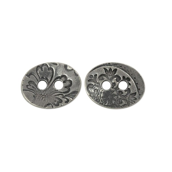 TierraCast Jardin Two-Hole Button 17.5mm Antique Pewter Plated (1-Pc)